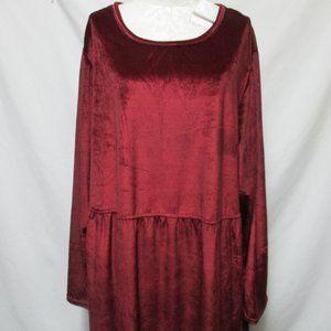 Clifford & Wills CW Classic knit Velour dress Plus burgundy w/Pockets Size Sz 4X